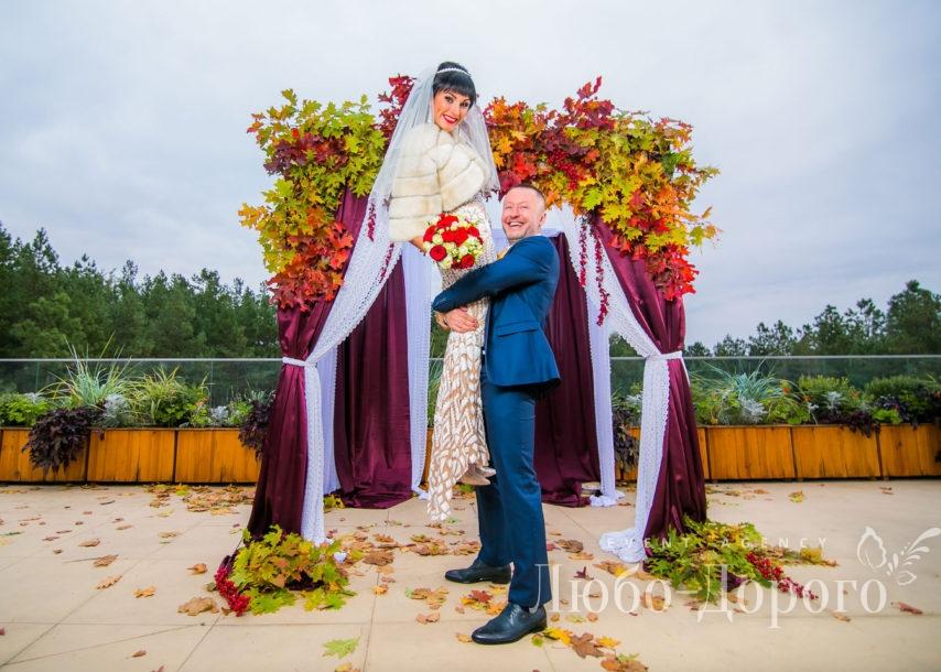 Фотосессия осенней свадьбы